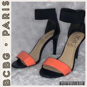 BCBG Paris • PL -Fanita  •Black & Orange Heels • 7